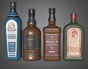 DVB - Liquor Bottles - PBR Game Ready 3D asset
