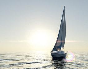 3D asset Monohull Sailboat