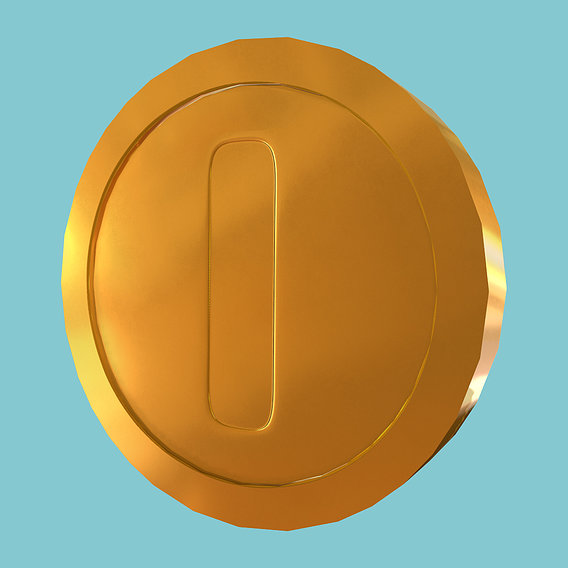 Super Mario style golden coin
