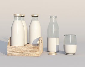 3D model Retro glass milk bottles with wood box and glass