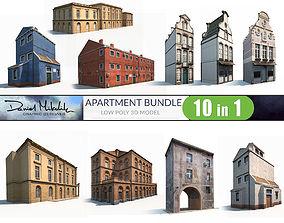 Apartment Buildings BUNDLE Low Poly 3D model