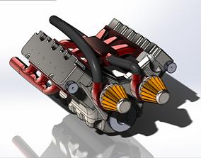 3D model car engine 6 pistons