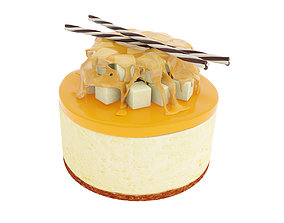 3D model Cake with pear and syrup