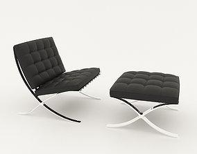 3D model Barcelona chair and ottoman