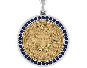 lion pendant with stones STL 3D print model