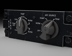 3D model rigged F16 AIR CON Panel