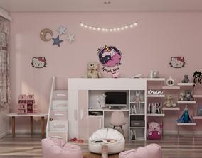 girls room-hello kitty 3D