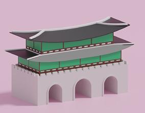 Cartoon Gwanghwamun Gate Seoul Korea 3D asset