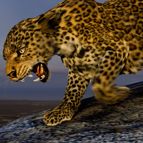 Creatures animation. Leopard with cub.