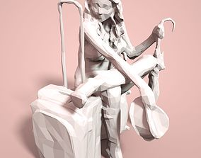 Girl Low poly Sculpture 3D print model