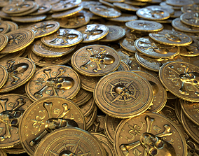 3D asset Pirate Gold Coin and Stack - Variant A