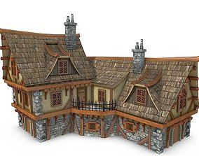 3D asset game-ready Medieval Building 19 Coaching Inn