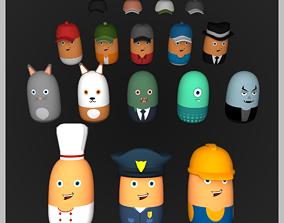 Capculen Men Cartoon Characters 3D model