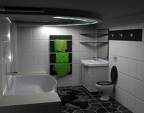 3D model Modern Black-White-Green Bathroom
