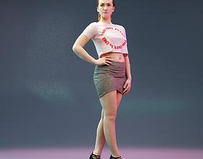 3D asset Girl in Miniskirt and High Heels