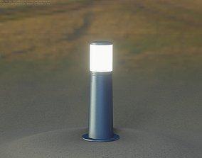 Low-Poly Blue Light Column 9 - Street Light Set-9 3D asset
