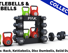 Kettlebells and Dumbbells Collection 3D model