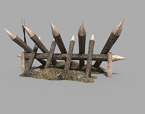 3D asset low poly medieval palisade