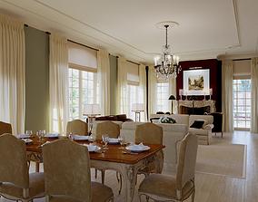 Liveroom dining room cottage 3D model