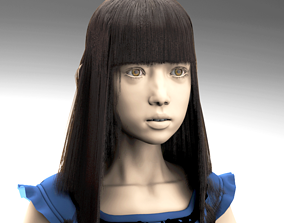 Girl in a dress rigged 3D
