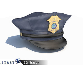 low-poly Police Officer Hat Blue Cap Lowpoly 3D