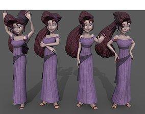 Meg Megara Disney lowpoly rigged printable pose 3D asset