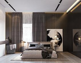 Modern Master Bedroom 3D model rigged master