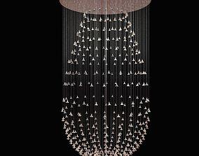 3D model custom made glass flower chandelier