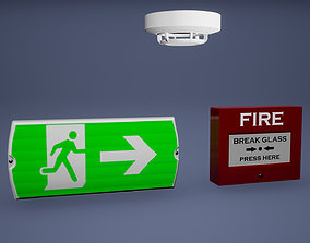 3D model Fire Detector Low Poly Game Ready