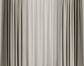 3D model Beige curtains with tulle