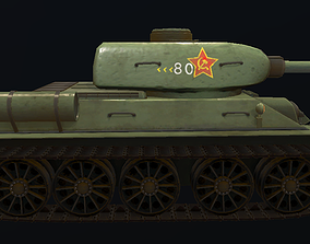 3D model T-34 Hand-Painted