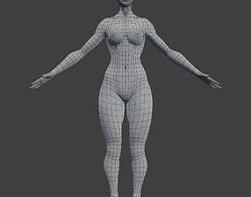 Woman Character Base Mesh Rigged 3D model