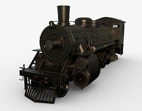 Steam Train 3D model animated
