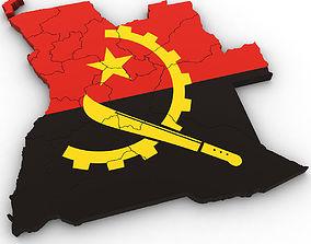 america 3d Political Map of Angola