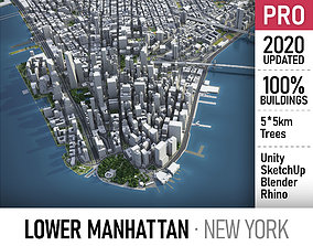 Lower Manhattan - Downtown - New York 3D model game-ready