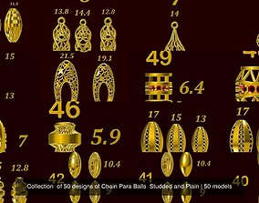 3D model Collection of 50 designs of Chain Para Balls 2