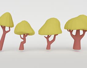 3D model Set of green trees
