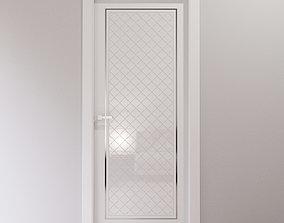 White interior door with glossy arabesque tiles 3D