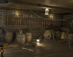 3D model Abandoned pirate ship with weapons