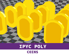 Epic Poly - Mariolike Coin with LOD 3D asset