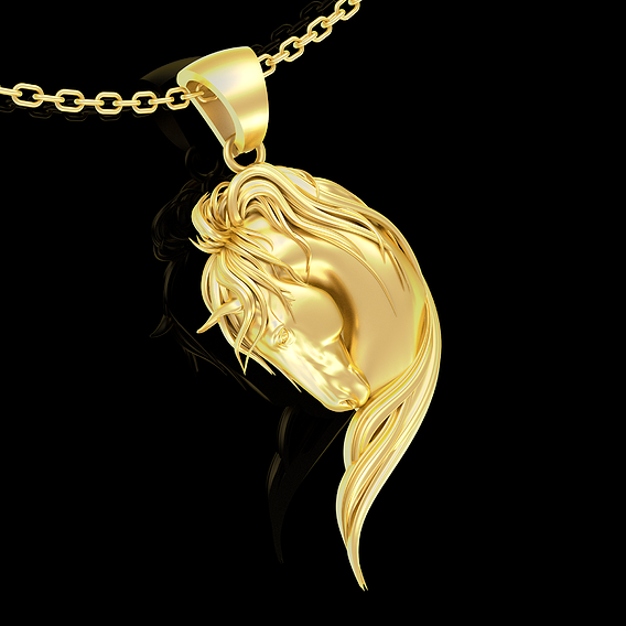 Horse Head With Long Mane Pendant jewelry Gold 3D print model