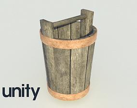 3D model Wooden Bucket with metal rings