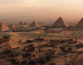egyptian pyramid statue pyramids 3D