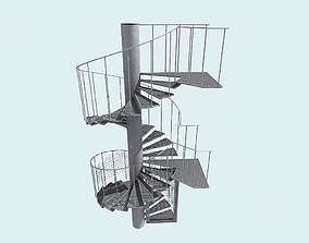 Spiral fire escape staircase 3D model