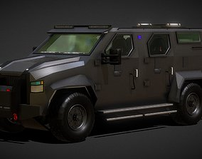low-poly Armored SWAT Truck Tactical Car 3D Model