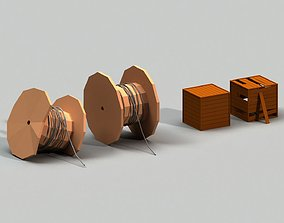 3D model Post Apocalyptic Cable Drum and Wooden Box