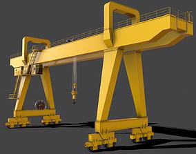 PBR Double Girder Gantry Crane V2 - Yellow Light 3D asset