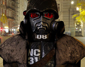 NCR Fallout New Vegas Armor PBR Rigged 3D model realtime