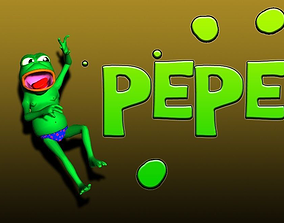 3D model rigged Pepe the frog