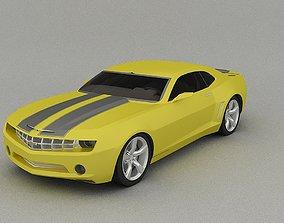 3D Car concept-Chevrolet Camaro yelow color